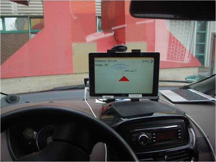 3D - Anzeige der Position der Ladespule (Empfängerspule rot,  Ladespule blau). (c)  IFS