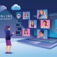 Eine junge Frau hält ihren Vortrag auf einer virtuellen Tagung.